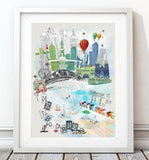 Melbourne Retro City Print - Rock Salt Prints Ltd