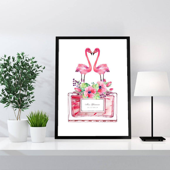 Flamingo Perfume Bottle  Art Print - in white - Rock Salt Prints