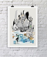 Montreal Retro City Print - Rock Salt Prints Ltd