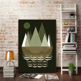 Mountains Black Art Print - Rock Salt Prints Ltd