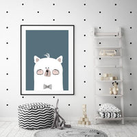 Woodland Nursery - Mr Bear Head Art Print in denim/teal colour - Rock Salt Prints Ltd