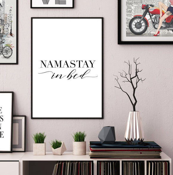 Namastay In Bed PORTRAIT Art Print - Rock Salt Prints Ltd