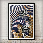 Navy and Gold Zebra Abstract Art Print - Left Side 001