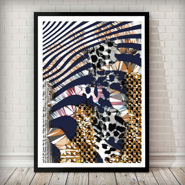 Navy and Gold Zebra Abstract Art Print - Left Side 001 - Rock Salt Prints Ltd