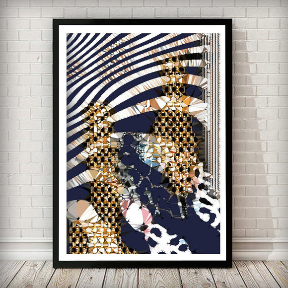 Navy and Gold Zebra Abstract Art Print - Right Side 002 - Rock Salt Prints