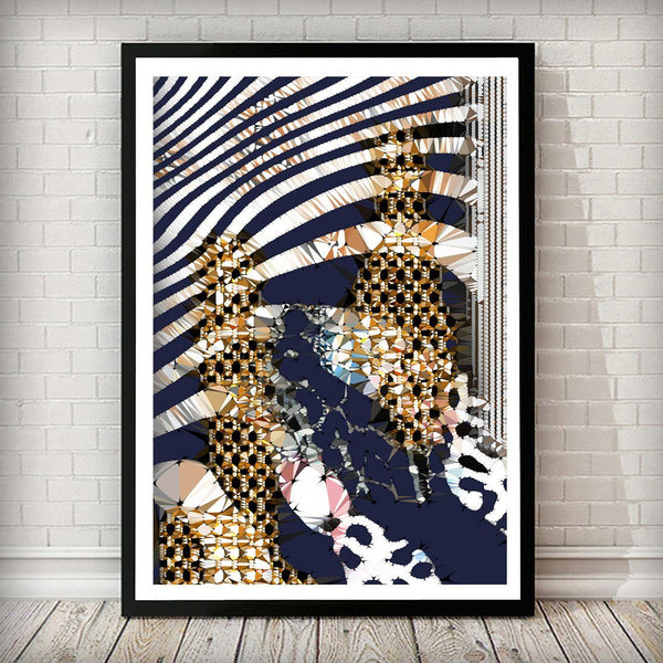 Navy and Gold Zebra Abstract Art Print - Right Side 002