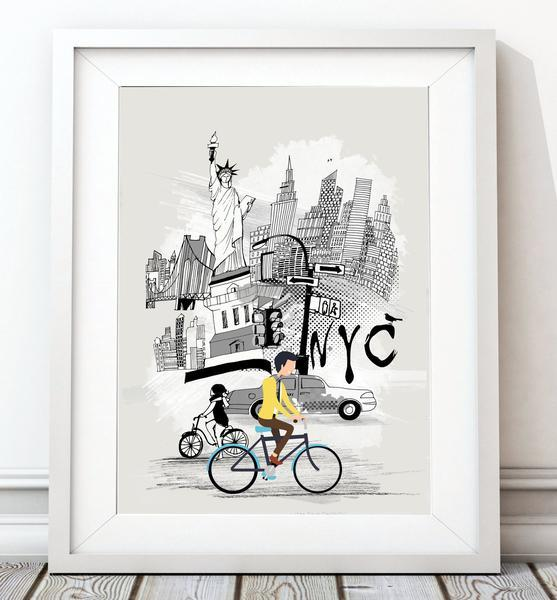 New York Retro City Print - Rock Salt Prints Ltd