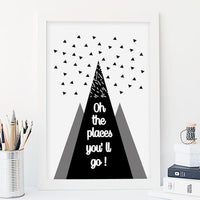 Oh, The Places You'll Go Monochrome Nursery Art Print - Rock Salt Prints Ltd