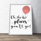Oh, The Places You'll Go Nursery Art Print - Rock Salt Prints Ltd