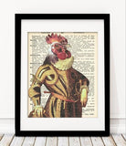 Old Dictionary Collection - Rooster Animal Art Print - Rock Salt Prints Ltd