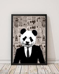 Panda Guy - Old News Paper Animal Art Print - Rock Salt Prints Ltd