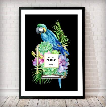 Parrot/Tropical Perfume Bottle Fashion Art Print - in black - Rock Salt Prints Ltd