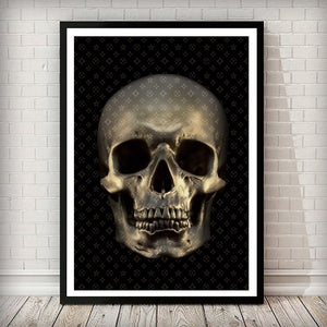 Gold Skull with Fashion Pattern Art Print - Rock Salt Prints