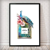 Peacock/Floral Perfume Bottle Fashion Art Print - in white - Rock Salt Prints Ltd