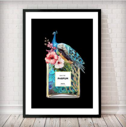 Peacock/Floral Perfume Bottle Fashion Art Print - in black - Rock Salt Prints Ltd