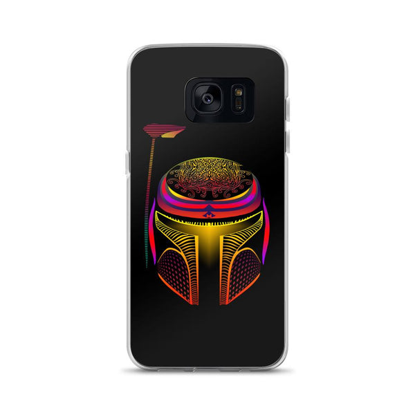 Neon Boba Fett Helmet Samsung Case - Rock Salt Prints Ltd