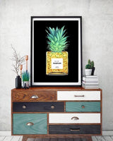 Pineapple Perfume Bottle Fashion Art Print in black - Rock Salt Prints Ltd