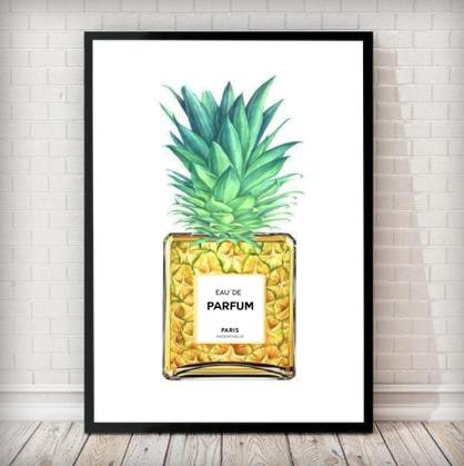 Pineapple Perfume Bottle Fashion Art Print in white - Rock Salt Prints Ltd