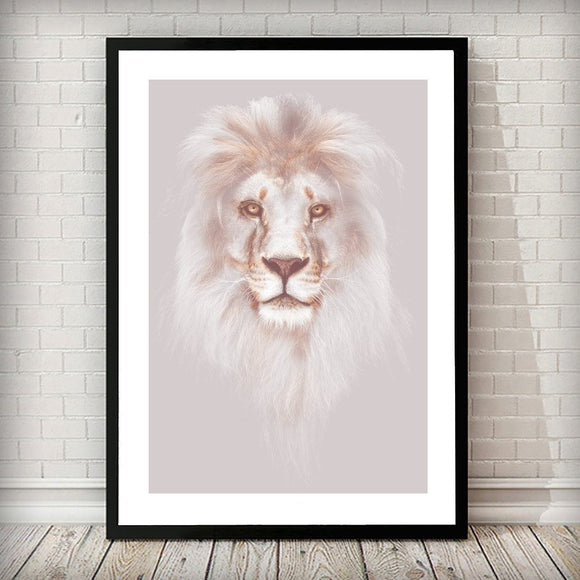 Pink Mink Lion Head Nature Home Poster Art Print - Rock Salt Prints Ltd