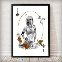 Poker Force Collection - Boba Fett White - Star Wars Inspired Art Print - Rock Salt Prints Ltd