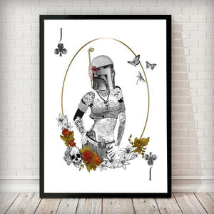 Poker Force Collection - Boba Fett White - Star Wars Inspired Art Print - Rock Salt Prints