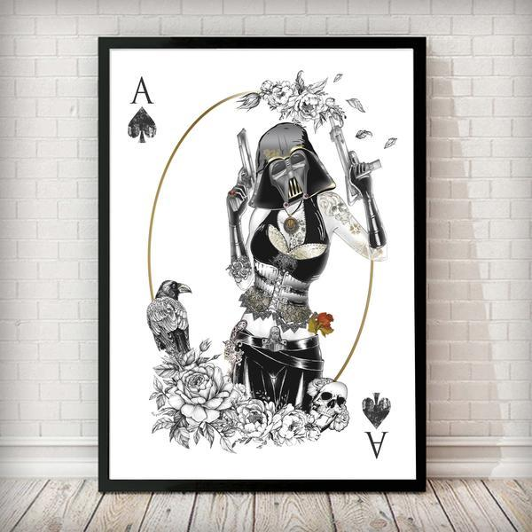 Darth Vader White, Poker Force - Star Wars Inspired Art Print - Rock Salt Prints Ltd