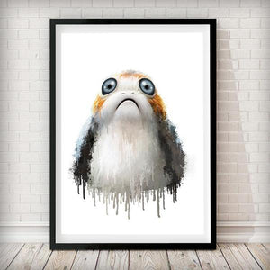 Dripping Star Wars Poster, Porg Art Print - Rock Salt Prints Ltd