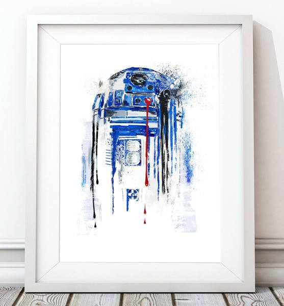 Dripping Star Wars Poster, R2D2 Art Print - Rock Salt Prints