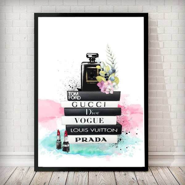Fashion Books and perfume bottle Fashion Art Print - Rock Salt Prints Ltd