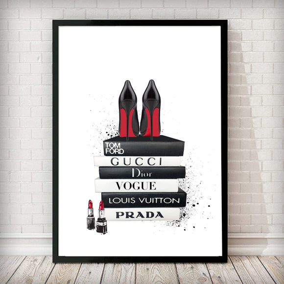 Fashion Books + Black/Red Heels Fashion Art Print - Rock Salt Prints Ltd