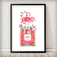 Flamingo Perfume Bottle Art Print - WHITE BACKGROUND - Rock Salt Prints Ltd