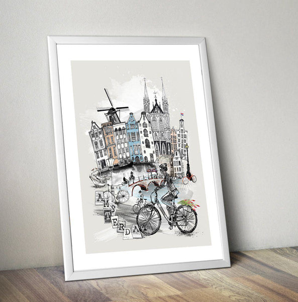 Amsterdam Poster - Retro City Art Print - Rock Salt Prints Ltd