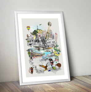 Auckland Retro City Art Print - Rock Salt Prints Ltd