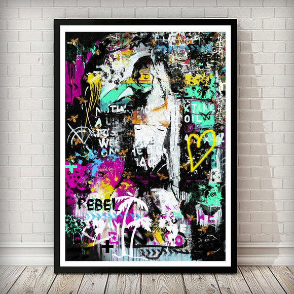 Rebel Girl Pop Graffiti Art Print - Rock Salt Prints Ltd