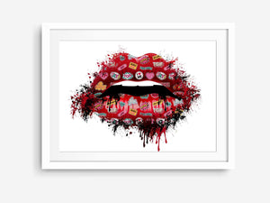 Rebel Girl Lips in Red - Fashion Art Print - Rock Salt Prints Ltd