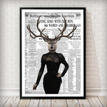Reindeer Lady - Old News Paper Animal Art Print - Rock Salt Prints Ltd