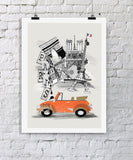 Paris Retro City Print - Rock Salt Prints Ltd