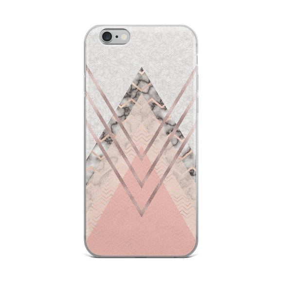 Rose Gold / Blush Pink Triangles iPhone Case - Rock Salt Prints Ltd