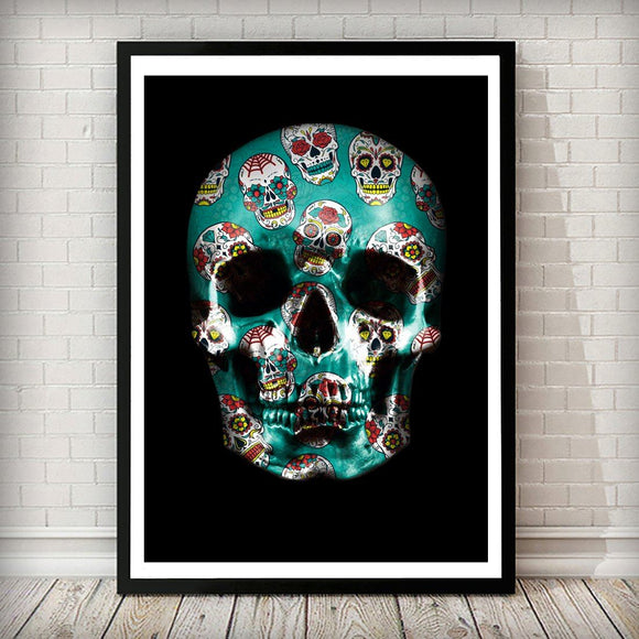 Sugar Skull Skull Fashion Art Print - Rock Salt Prints Ltd