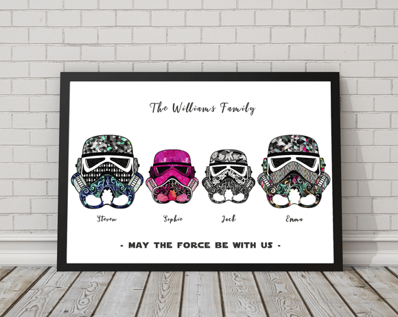 Personalised Star Wars Print - Stormtrooper Helmet Family Art Print - Rock Salt Prints