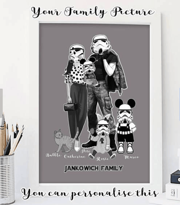 Stormtrooper Family Art Print - Personalise This Print - Rock Salt Prints