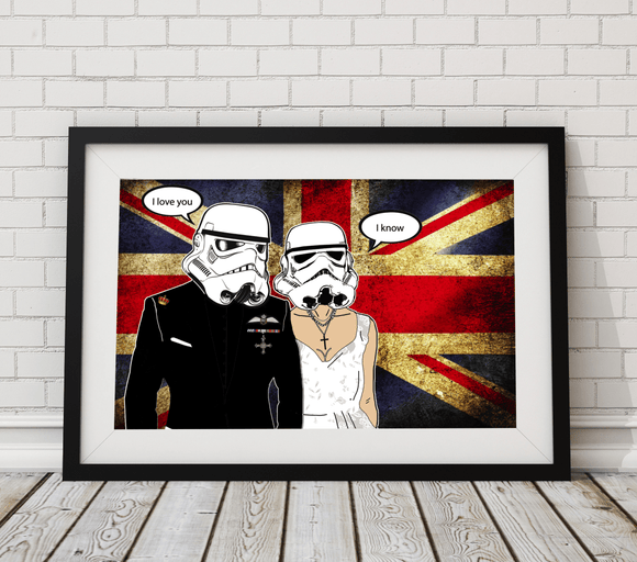 A Stormy Affair, Star Wars/ Stormtrooper Inspired Art Print - Royal Wedding Edition - Rock Salt Prints