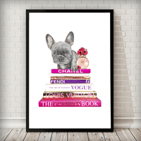 Fashion Books and Blue French Bulldog with perfume - Rock Salt Prints Ltd