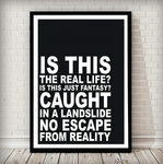 Is This The Real Life Music Typography Poster - Rock Salt Prints Ltd