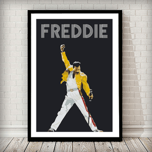 Freddie Mercury Music Typography Poster - Rock Salt Prints