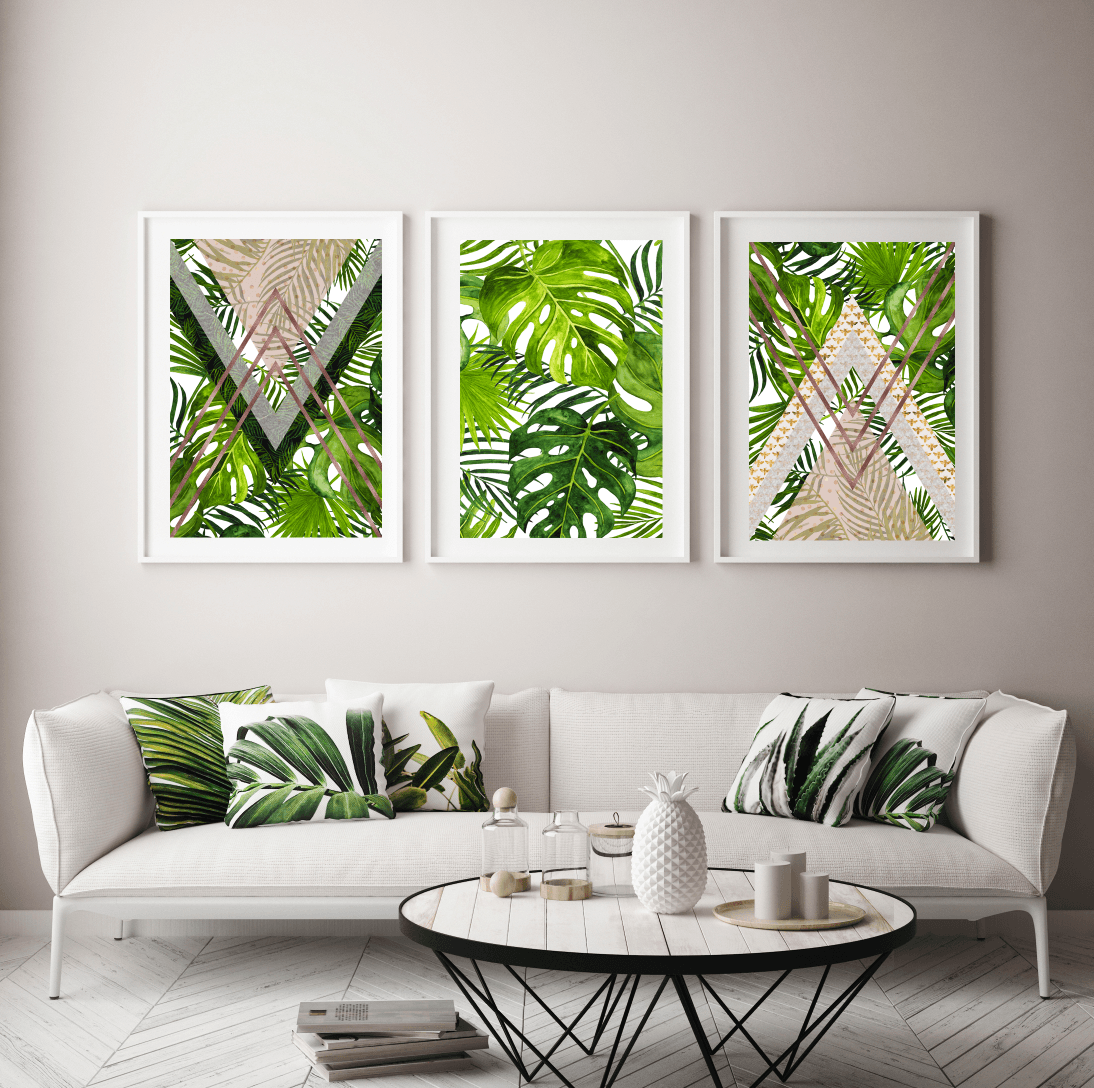 Tropical Trio Gallery Wall, Abstract Home Decor Art Prints