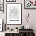 Manchester City Map Art Print - Rock Salt Prints Ltd