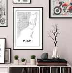 Miami City Map Art Print - Rock Salt Prints Ltd