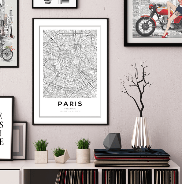 Paris City Map Art Print - Rock Salt Prints Ltd