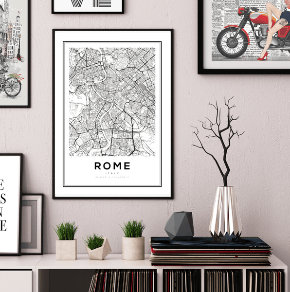 Rome City Map Art Print - Rock Salt Prints Ltd